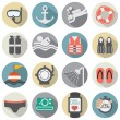 Flat Design Diving Icon Set Vector Illustration — Stock Vector #49862459