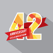 42nd Years Anniversary Celebration Design — Stock Vector
