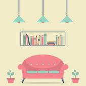 современный дизайн интерьера стул и книжные полки — Cтоковый вектор