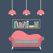 Modern Design Interior Sofa and Bookshelf — Vettoriale Stock