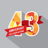 43rd Years Anniversary Celebration Design — Stock Vector