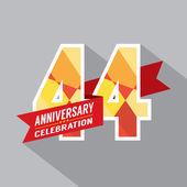 44th Years Anniversary Celebration Design — Stock Vector