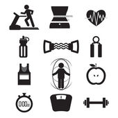 Fitness Icon Set Vector Illustration — Vettoriale Stock