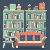 モダンなデザインのインテリア椅子や本棚 — ストックベクタ