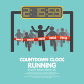 Countdown Clock At Finish Line Vector Illustration — Stock Vector