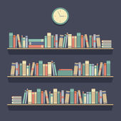 Flat Design Bookshelves Vector Illustration — Stock Vector