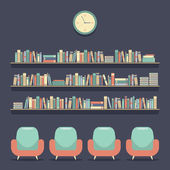 Flat Design Reading Seats and Bookshelves Vector Illustration — Stock Vector
