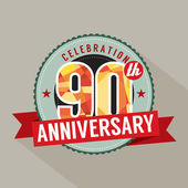 90th Years Anniversary Celebration Design — Vector de stock