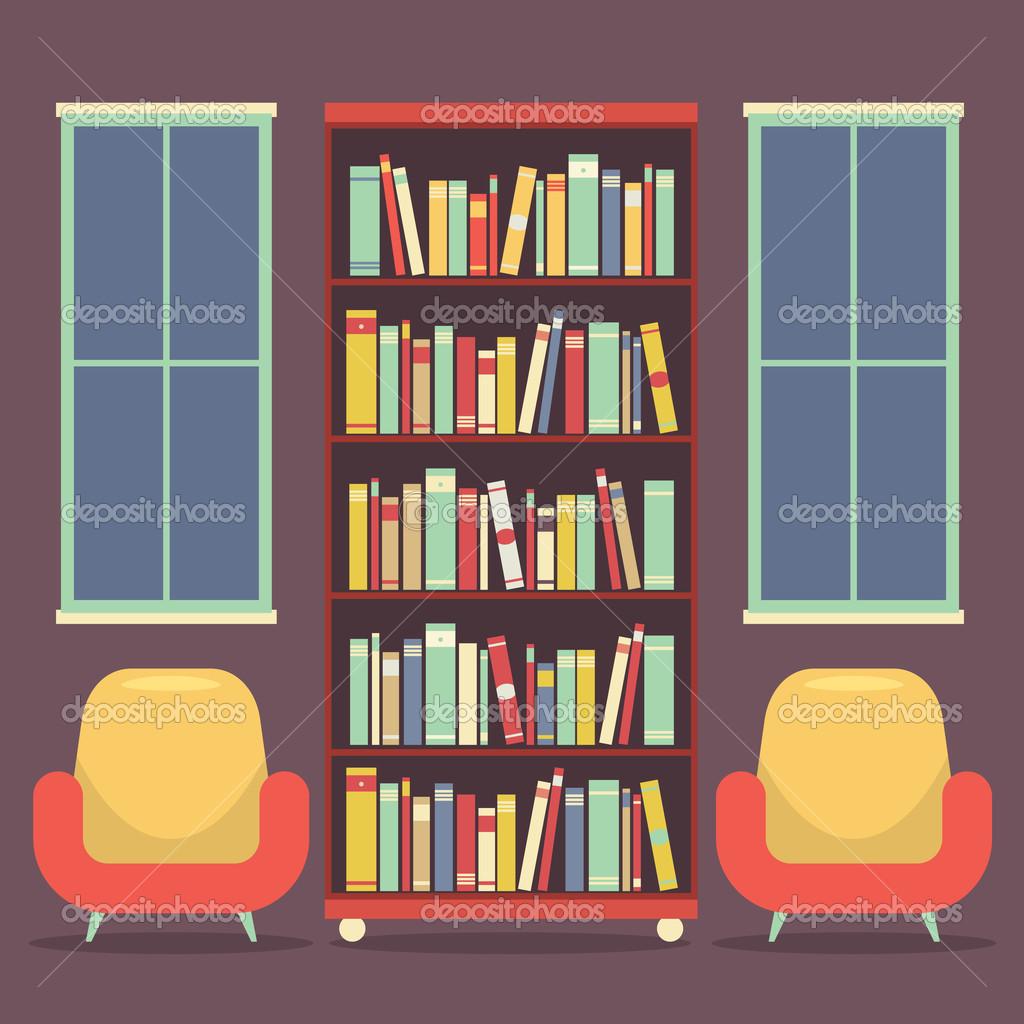 阅读座位和书柜矢量图的平面设计