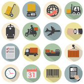 Modern Flat Design Logistics Icon Set Vector Illustration — Stock Vector