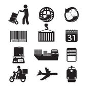 Logistics Icon Set Graphic Vector Illustration — Stock Vector