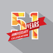 51st Years Anniversary Celebration Design — Vettoriale Stock
