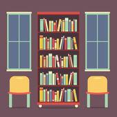плоский дизайн, чтение мест и книжный шкаф векторные иллюстрации — Cтоковый вектор