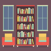Flat Design Reading Seats and Bookcase Vector Illustration — Stock Vector
