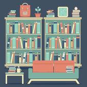 Modern Design Interior Sofa and Bookshelf — Stock Vector