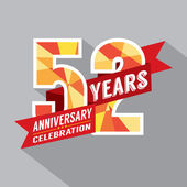 52nd Years Anniversary Celebration Design — Vector de stock