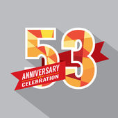 53rd Years Anniversary Celebration Design — Vettoriale Stock