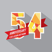54th Years Anniversary Celebration Design — Vector de stock