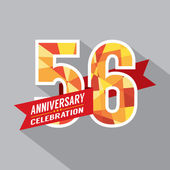 56th Years Anniversary Celebration Design — Vettoriale Stock