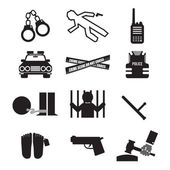 Police And Law Icon Set Vector Illustration — Stock Vector