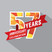 57th Years Anniversary Celebration Design — Vector de stock