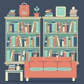 Modern Design Interior Chairs and Bookshelf — Stock Vector