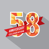 58th Years Anniversary Celebration Design — Vector de stock