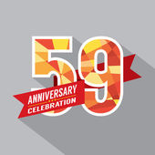 59th Years Anniversary Celebration Design — Vettoriale Stock