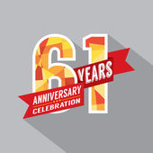 61st Years Anniversary Celebration Design — Wektor stockowy