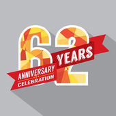 62nd Years Anniversary Celebration Design — Wektor stockowy