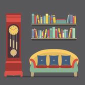 Living Room Interior Design Vector Illustration — Stock Vector