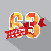 63rd Years Anniversary Celebration Design — Vettoriale Stock