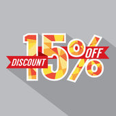 Discount 15 Percent Off Vector Illustration — Stock Vector