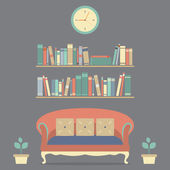 Flat Design Interior Vintage Sofa and Bookshelf — Vecteur
