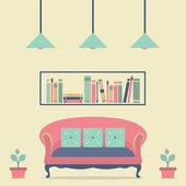 Flat Design Interior Vintage Sofa and Bookshelf — Wektor stockowy