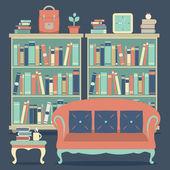 Modern Design Interior Chairs and Bookshelf — Vecteur