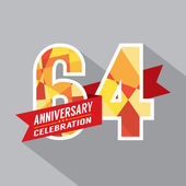 64th Years Anniversary Celebration Design — Vettoriale Stock