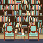 Reading Seats In Front Of A Bookcase — Stock Vector
