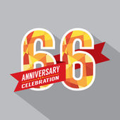 66th Years Anniversary Celebration Design — Vector de stock