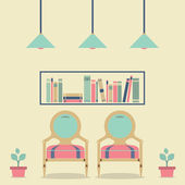 Flat Design Interior Vintage Sofa and Bookshelf — Stok Vektör