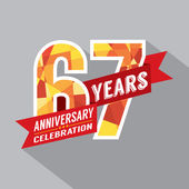 67th Years Anniversary Celebration Design — Vector de stock