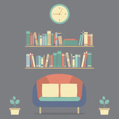 Flat Design Interior Vintage Sofa and Bookshelf — Stock Vector