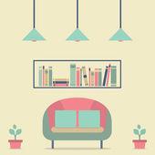 Flat Design Interior Vintage Sofa and Bookshelf — Vetorial Stock