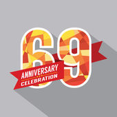 69th Years Anniversary Celebration Design — Vettoriale Stock