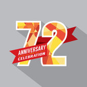 72nd Years Anniversary Celebration Design — Vettoriale Stock