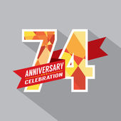 74th Years Anniversary Celebration Design — Vettoriale Stock