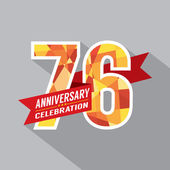 76th Years Anniversary Celebration Design — Vettoriale Stock