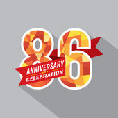 86th Years Anniversary Celebration Design — Vettoriale Stock