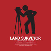 Land Surveyor Black Graphic Symbol Vector Illustration — Stock Vector