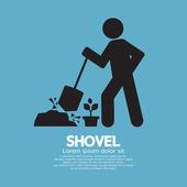 Shovel And Gardener Symbol Vector Illustration — Stock Vector